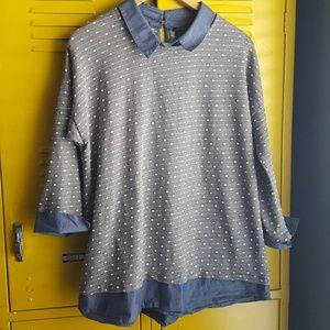 Sweater and collared shirt Ann Taylor top